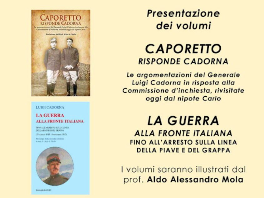 """Presentazione dei volumi """"Caporetto risponde Cadorna"""" e """"La guerra alla fronte italiana"""" a Palazzo Galli il 4 novembre"""